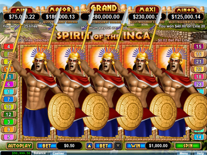 Spirit of the Inca progressive jackpot slot