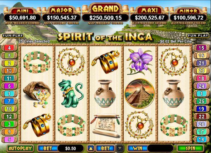 Spirit of the Inca Progressive Jackpot