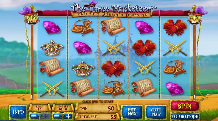 Play The Three Musketeers and The Queens Diamonds Slot at Casino.com UK