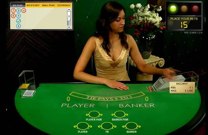 baccarat live casino dealer