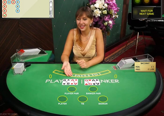 baccarat live casino game