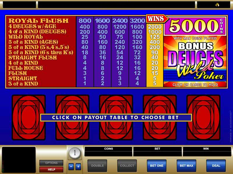 bonus deuces wild poker casino