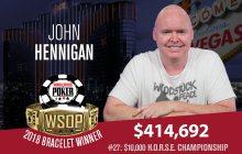 John Hennigan Wins 2018 WSOP H.O.R.S.E. Championship for Fifth Gold Bracelet