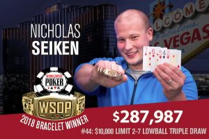 Nicholas Seiken Claims Gold in 2018 WSOP $10,000 Limit 2-7 Lowball Triple Draw Championship