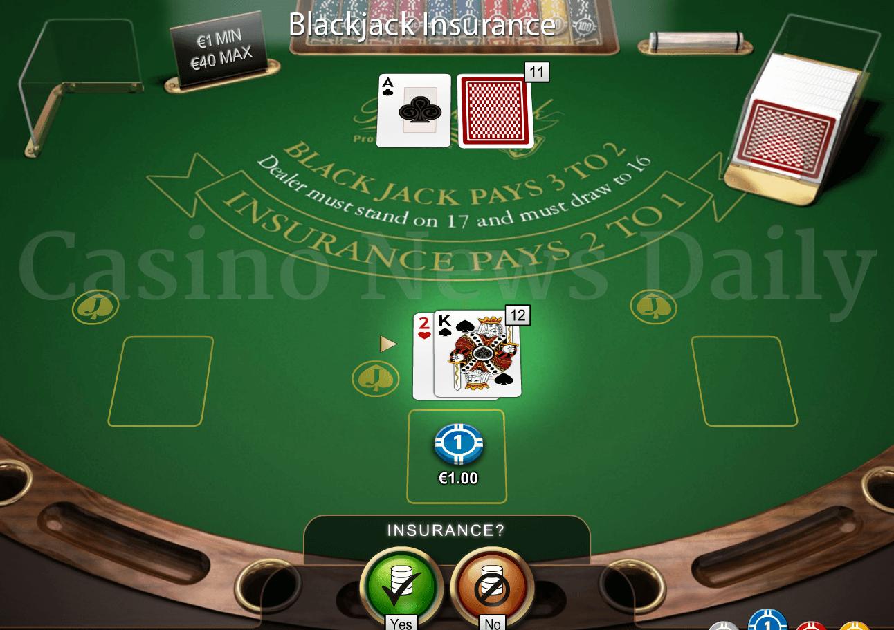 Blackjack game insurance option