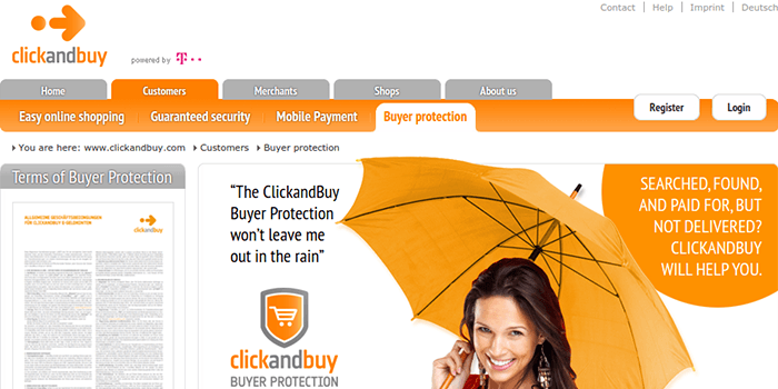 Screenshot of ClickandBuy Buyer Protection Page