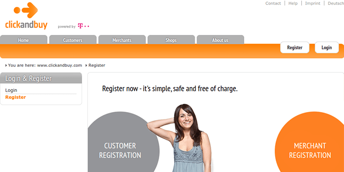 Screenshot of ClickandBuy Registration Page