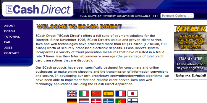 Screenshot of ECash Direct Home Page