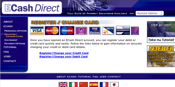 Screenshot of ECash Direct Register Page