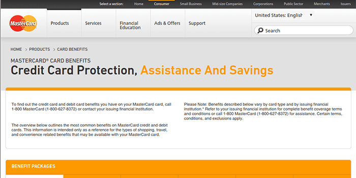Screenshot of MasterCard Advantages page