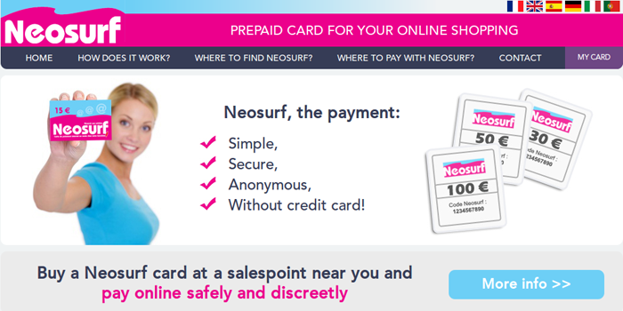 Screenshot of Neosurf Home Page
