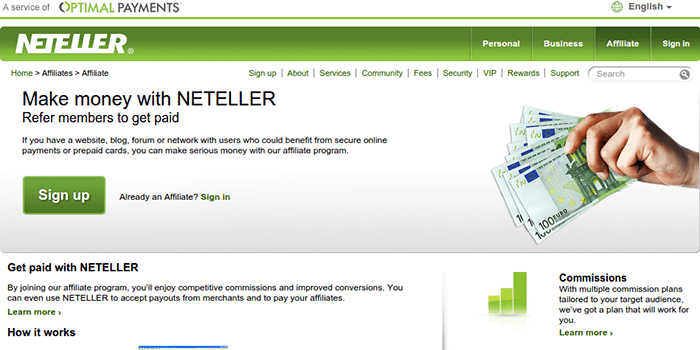 Screenshot of Neteller Affiliate Page and Terms