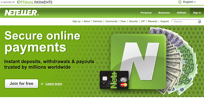 Screenshot of Neteller Home Page