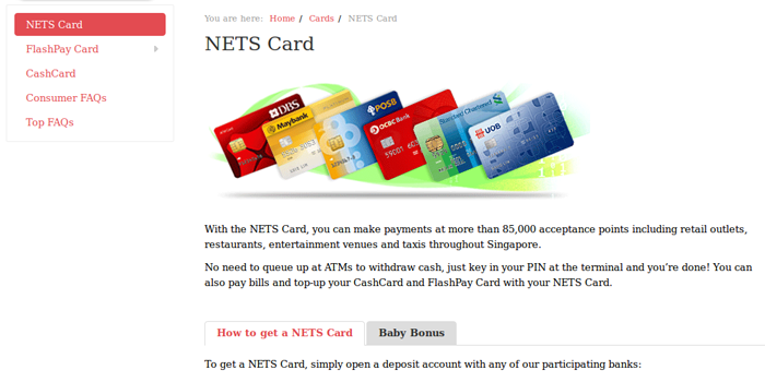 Screenshot of Nets Cards page