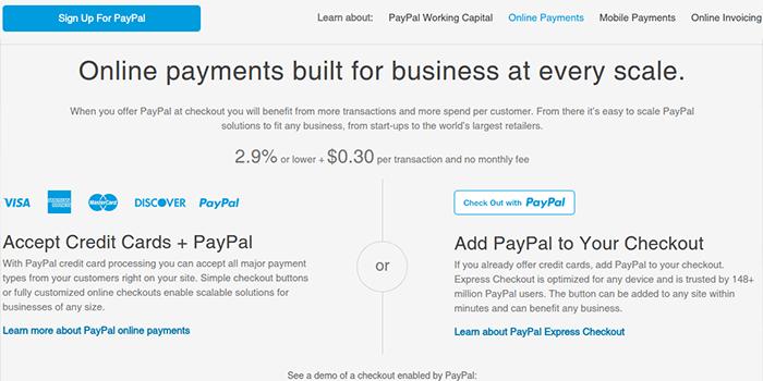 Screenshot der PayPal-Gebühren- und Steuerseite