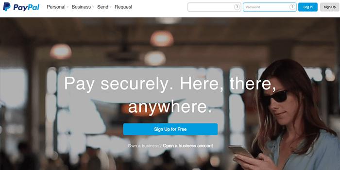Screenshot der PayPal-Startseite
