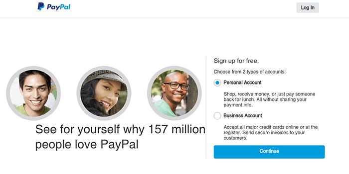 Screenshot der PayPal-Anmeldeseite und Schritte
