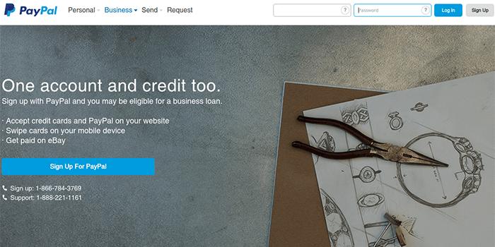 Screenshot der PayPal-Geschäftskontoseite