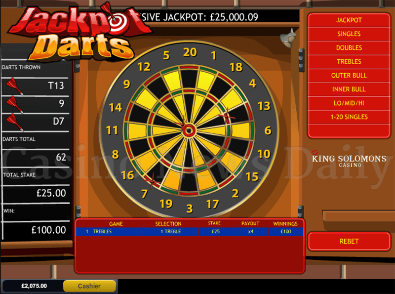 Jackpot Darts Progressive Jackpot Slot Treble Win