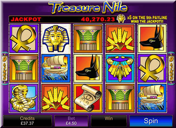 Screen of Treasure Nile Progressive Jackpot