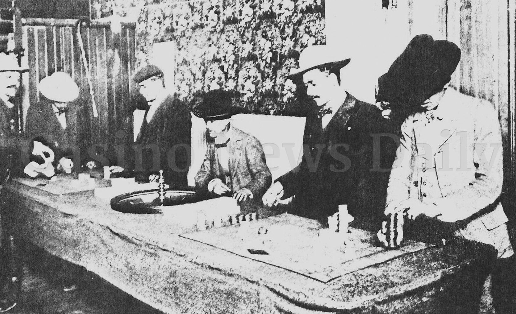 Black and white illustration of cowboys playing roulette in old american casino