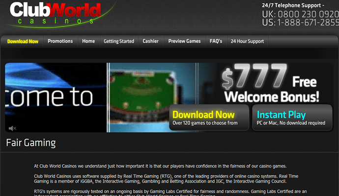 club world casino promo