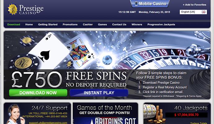 Prestige Casino Bonus Code