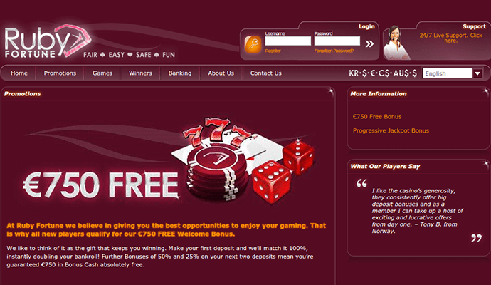 Ruby fortune casino live chat